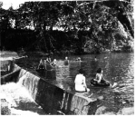 Caney River Dam. Swimming in the river, early 1900's.