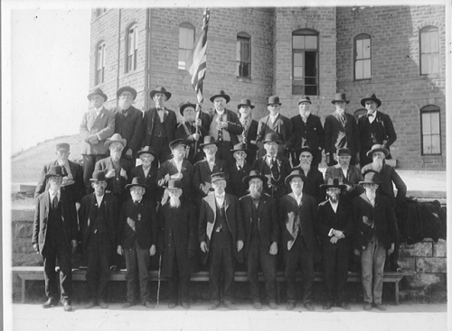 GAR Reunion (pic taken in front of the old 3-wing school)  FR 4th from left Col. F.M Hills